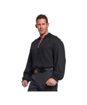 mens pirate shirt plus size costume black
