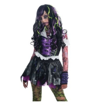Purple Streaks Zombie Kids Wig