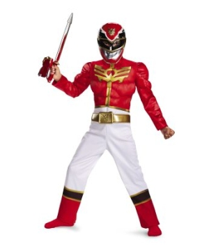 Red Power Ranger Megaforce Muscle Boys Costume