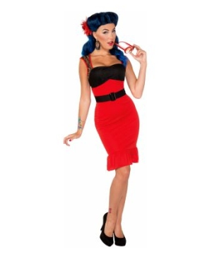 Retro Rock Scarlet Rose Adult Costume