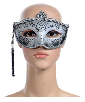 Silver Tasseled Mardi Gras Adult Mask