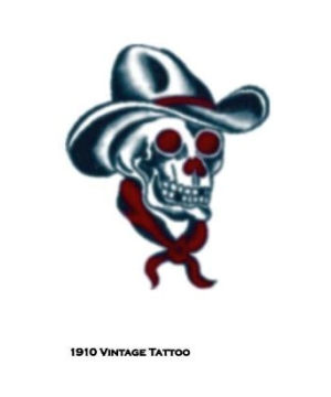 Vintage Skull Cowboy Adult Tattoo