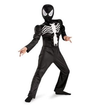 Ultimate Black Suited Spiderman Muscle Kids Costume