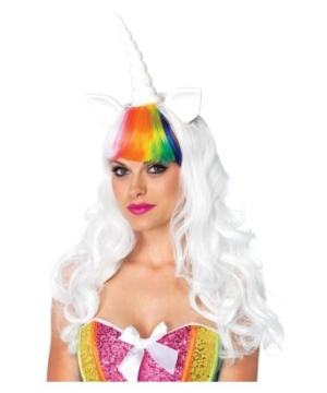 Unicorn Rainbow Bangs White Wig and Rainbow Tail Kit