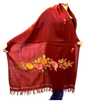 Elegant Maroon Hand Embroidered Kashmir Shawl Pashmina Scarf Stole Wrap for Women