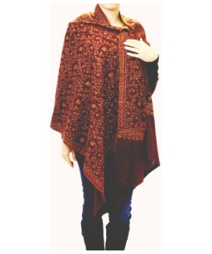 Authentic Burgundy Hand Embroidered Women's Cashmere Shawl Stole Wrap Scarf Pashmina Made in India