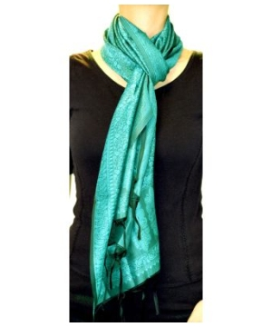Women's Long Teal Printed Pashmina Scarf Shawl Wrap Stole Made in India