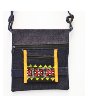 Square-shaped Blue Denim Jean Shoulder Bag With Zippered Pockets