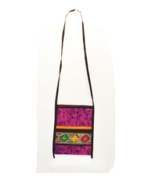 Women's Magenta and Black Tie Dye Bag With Colorful Embroidery