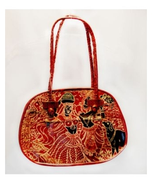 Ladies Hand-dyed Leather Tote Purse With Traditional Design