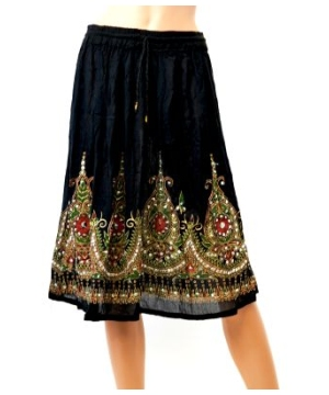 Women's Black Short Skirt With Elastic Waistband