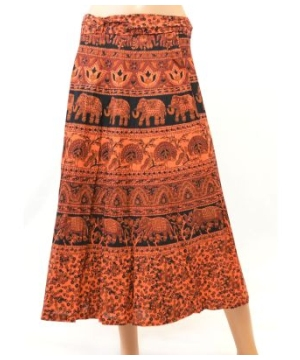 Ladies Printed Cotton Wraparound Pareo Style Skirt