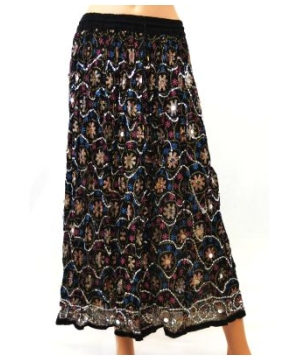 Jaipuri Long Skirt With Silver Sequins