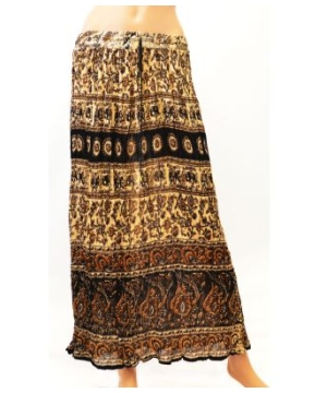 Ladies Crinkle Long Brown Skirt With Traditional Print