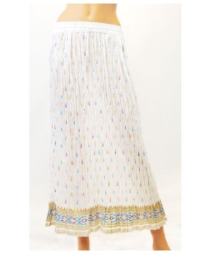 Women's Crinkle Long White Skirt