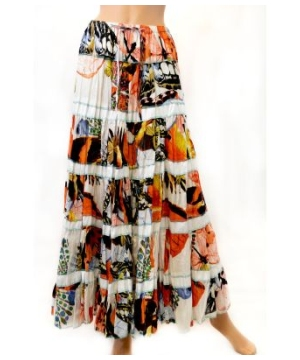 Women's Printed Long Bohemian Skirt With Elastic Waist