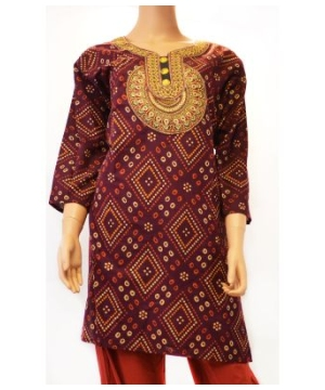 Maroon Kurta Tunic Women's Shirt Handcrafted in India