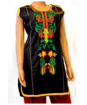 Black Sleeveless Kurta Tunic Women Shirt
