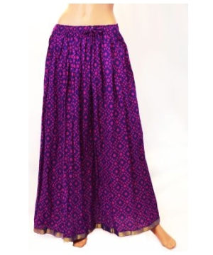 Purple Women's Printed Long Skirt With Elastic Waist