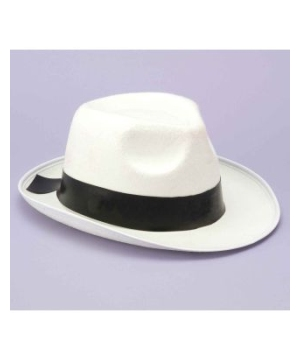 White Gangster Hat for Adults