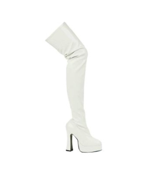 white patent thrill thigh high adult boots