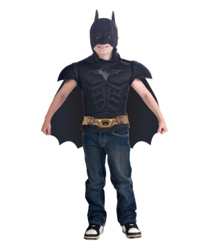 Batman Muscle Shirt Cape Boys Costume
