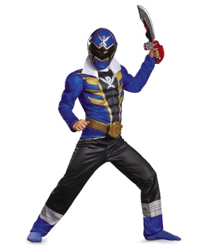Kids Blue Power Ranger Muscle Boys Costume