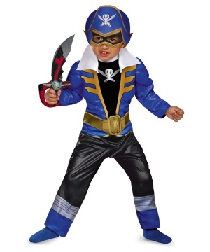 Boys Blue Power Rangers Super Megaforce Toddler Boys Muscle Costume
