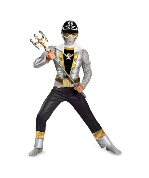 Boys Special Silver Ranger Super Megaforce Muscle Costume