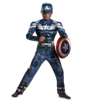 Captain America Movie 2 Classic Muscle Boys Costume