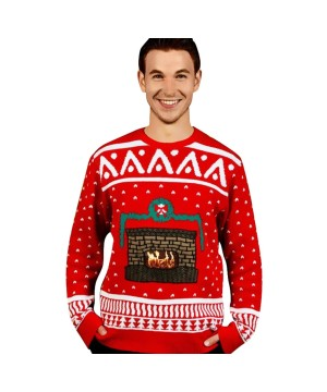 Christmas Fireplace Digital Adult Sweater