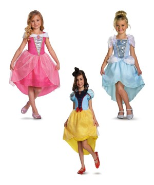 Cinderella, Snow White and Aurora Girls Disney Princess Costume Set