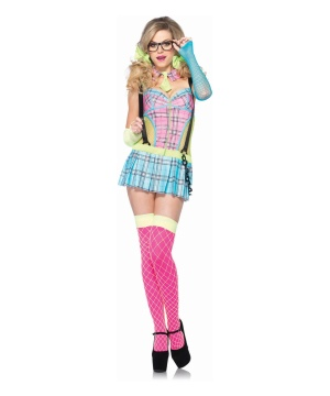 Day Glow School Girl Womens Costume
