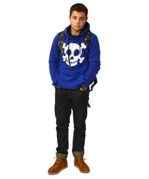 District Young Men Concert Fleece Drawstring Skull Hoodie