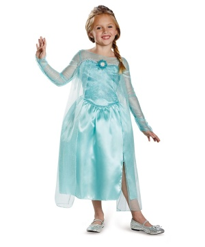 Disney Frozen Elsa Snow Queen Gown Girls Costume