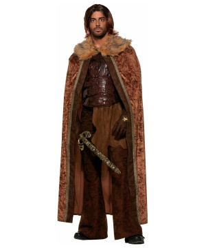 Faux Fur Trimmed Cape Brown