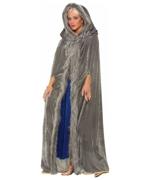 Faux Fur Trimmed Grey Cape