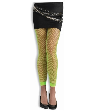 Footless Neon Fishnet Tights Green