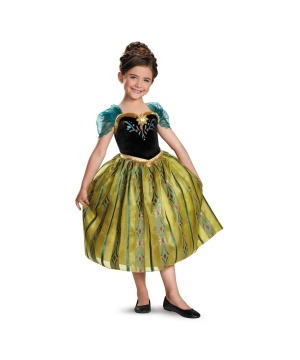 Disney Frozen Anna Coronation Gown Girls Costume deluxe