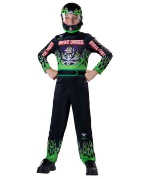 Monster Jam Grave Digger Race Car Driver Boy Costume