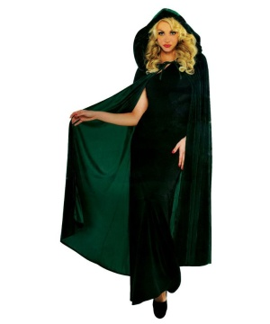 Green Hooded Velveteen Cape