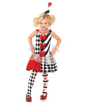 Harlequin Clown Girls Costume