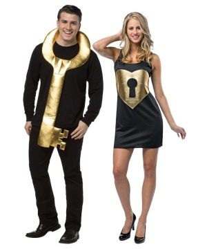 Key To her Heart Key and Lock Couples Costume
