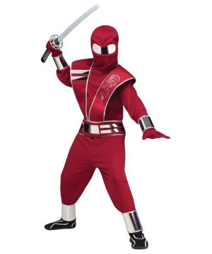 Mirror Mask Red Ninja Boys Costume