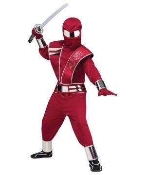 Mirror Mask Red Ninja Boys Costume