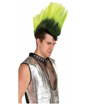 Mohawk Hairpiece Neon Green Black