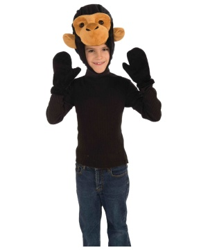 Monkey Hood and Mitts Kids Set
