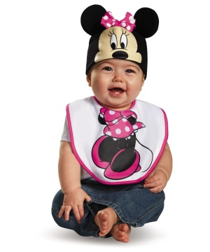 Pink Minnie Mouse Bib and Hat Baby Costume
