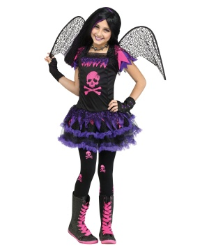 Pink Skull Fairy Girls Costume