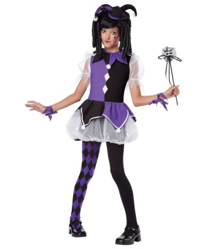 Purple Gothic Jester Girls Costume